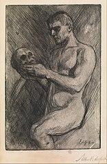 Naked man and skull