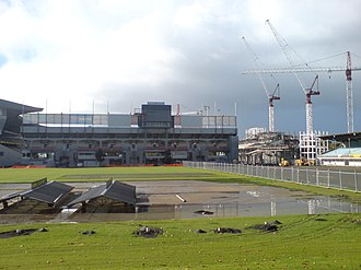 Eden Park - Cranes building the new South Stand in 2009