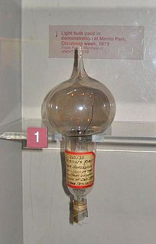 Thomas Edison - Wikipedia:Thomas Edison's first successful light bulb model, used in public  demonstration at Menlo Park, December 1879,Lighting