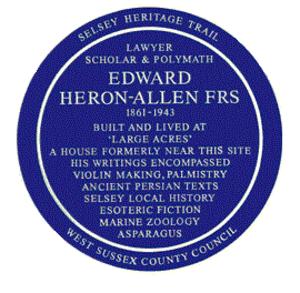 Edward Heron-Allen - Image: Ehaplaque