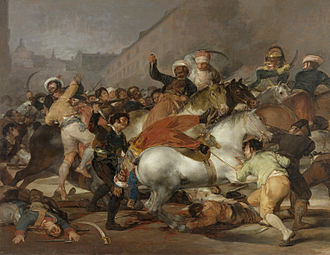 The Second of May 1808: The Charge of the Mamelukes, by Francisco de Goya (1814) showing Spanish resistance to French troops in Madrid El dos de mayo de 1808 en Madrid.jpg