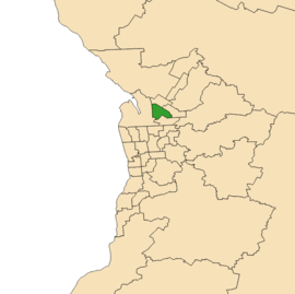 Map of Adelaide, South Australia with electoral district of Playford highlighted