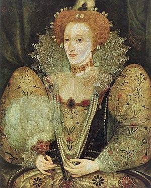Damaged portrait of Elizabeth I of England, To...