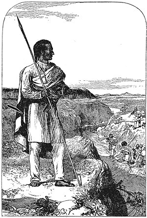 Tewodros II - Emperor Tewodros II supervising crossing of the Blue Nile river