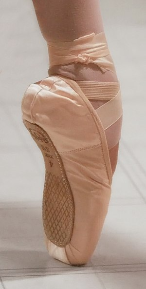 Pointe technique - An en pointe foot in a pointe shoe