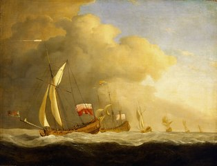 English Royal Yachts at Sea, in a Strong Wind in Company with a Ship Flying the Royal Standard