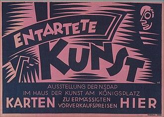 Degenerate Art Exhibition - Entartete Kunst, poster for the 1938 exhibition