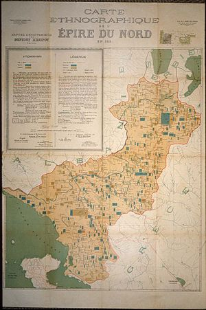 Autonomous Republic of Northern Epirus - Ethnographic map of Northern Epirus in 1913, presented by Greece at the Paris Peace Conference, 1919