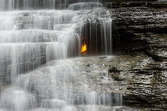 Erie County, New York - Eternal Flame Falls in Chestnut Ridge Park.