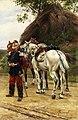 Eugene Chaperon Französischer Kavallerist vor seinem Schimmel.jpg