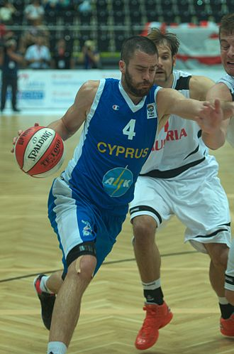 Cyprus national basketball team - Alex Liatsos playing for the Cypriot national basketball team against Austria (with Christoph Nagler and Rasid Mahalbasic) in August 2012