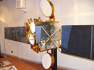 Television in the United Kingdom - ¼ scale mockup of the Eutelsat 28A satellite, a Spacebus 3000B2 manufactured by Alcatel Space