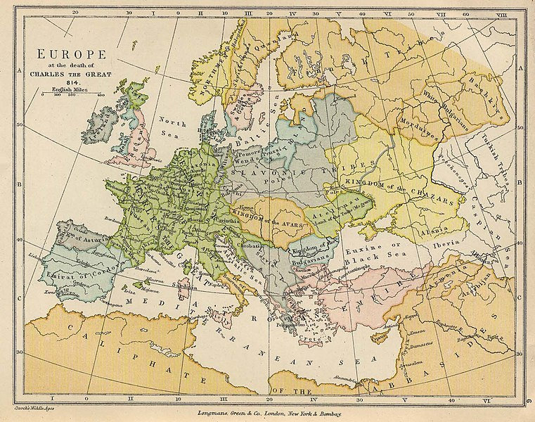 Europa a la muerte de Carlomagno.
