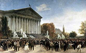 Corps législatif - The scene outside the Palais du Corps Législatif after its final sitting, 1870.