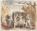 Extract from Edward Ardizzone, 'Baggage to the Enemy', John Murray (1941), p. 17- 'I accompanied the battery once on an exercise through the forest of Nieppe, where we passsed through several lonely villages which had es Art.IWMARTLD125.jpg