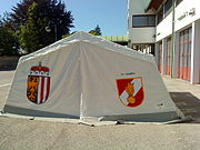 FF Gmunden Feuerwehrzelt Probeaufbau