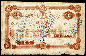 Fijian dollar - Series 1872 Treasury Note for 10 Dollars payable at Levuka.