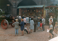 Fairground organ and traction engines, steam rally Stanley dock, Liverpool, late 1960s.png