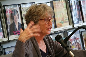 Fanny Howe -  Fanny Howe adding emphasis to her poetry at a West Tisbury Public Library gathering on Martha's Vineyard - 23 August 2012.