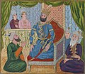 Farîdûn, seated on his throne, surrounded by five courtiers.jpg