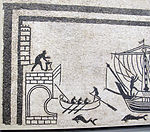 Fascia musiva con ingresso di navi nel porti, da grande triclinium di pal. diotallevi, 150 ca. 02.JPG