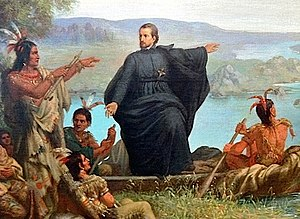 Franco-Indian alliance - Father Jacques Marquette with Indians.