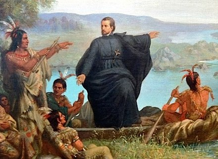 Father Jacques Marquette with Indians.