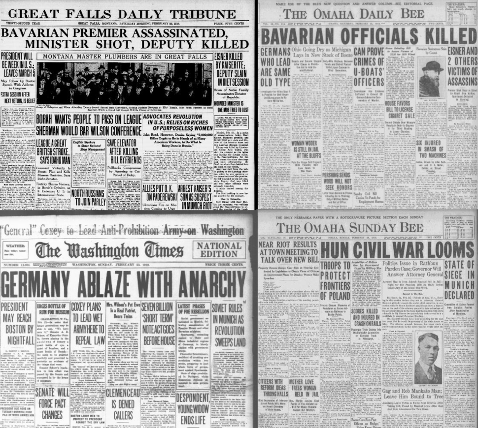 February 1919 US News coverage of unrest in Germany