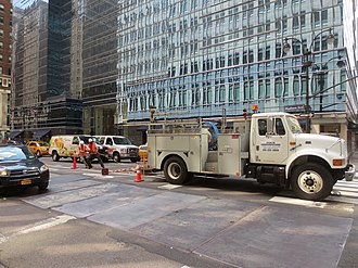 Fiber to the x - Fiber-optic cable being pulled underneath NYC's streets