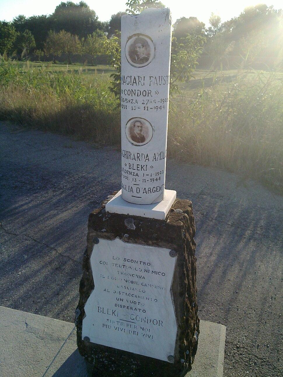 Fidenza cippo alla memoria Amilcare Dallagherarda Fausto Fornaciari