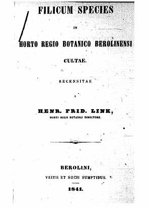 Johann Heinrich Friedrich Link - Title page of Filicum species in horto regio Berolinensi cultae