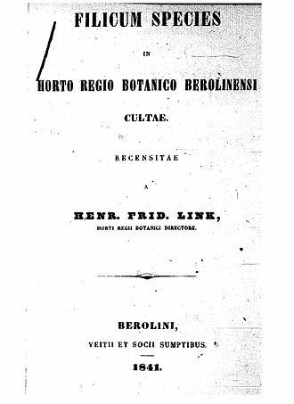 Johann Heinrich Friedrich Link - Title page of Filicum species in horto regio Berolinensi cultae