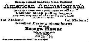 Sejarah Film 1900–1950 - An example of an image from the book: a 1905 advertisement for a film screening