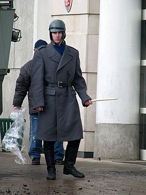 Milicja Obywatelska - Actor in a militiaman's uniform in the movie ''Czarny czwartek'' (''Black Thursday'')