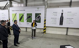 "Firefly Aerospace - The opening of a branch in Ukraine. The poster shows ""Alpha"", ""Beta"" and ""Gamma"" models."