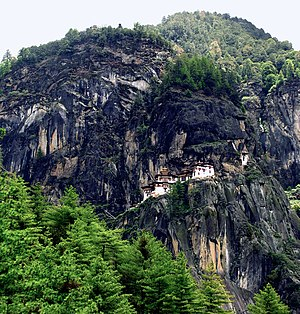 Paro Taktsang - Wider view of the cliffside
