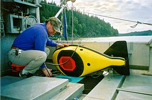 Acoustical oceanography - A 38 kHz hydroacoustic tow fin used to conduct acoustic surveys by NOAA. Alaska, Southeast.