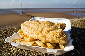 British cuisine - Fish and chips, a popular take-away food of the United Kingdom