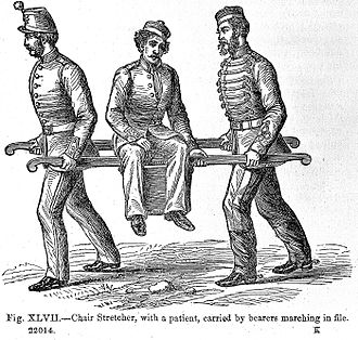 "Stretcher - Illustration of chair stretcher, ""On the Transport of sick and wounded troops"", 1868."