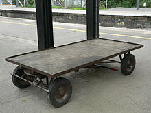 Flatbed trolley at Castle Cary railway station.jpg