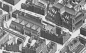 Théâtre de la foire - The Foire Saint-Germain as shown in Turgot's 1739 map of Paris with the Église Saint-Sulpice (upper right)