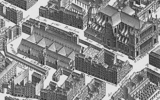 Théâtre de la foire - The Foire Saint-Germain as shown in Turgot's 1739 map of Paris with the Église Saint-Sulpice (upper right)