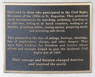 St. Augustine Foot Soldiers Monument - Image: Foot Soldier History Plaque