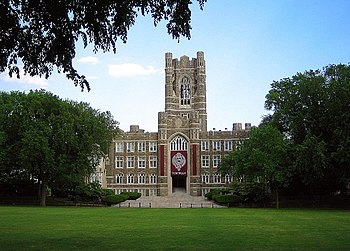 Keating Hall with Edwards Parade in the foreground (Rose Hill campus).