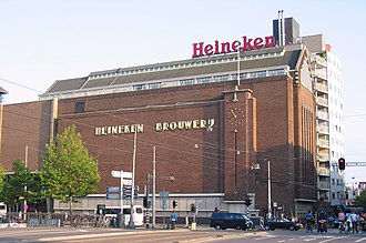 Heineken N.V. - Exterior of the former Heineken brewery in Amsterdam on Stadhouderskade and Ferdinand Bolstraat