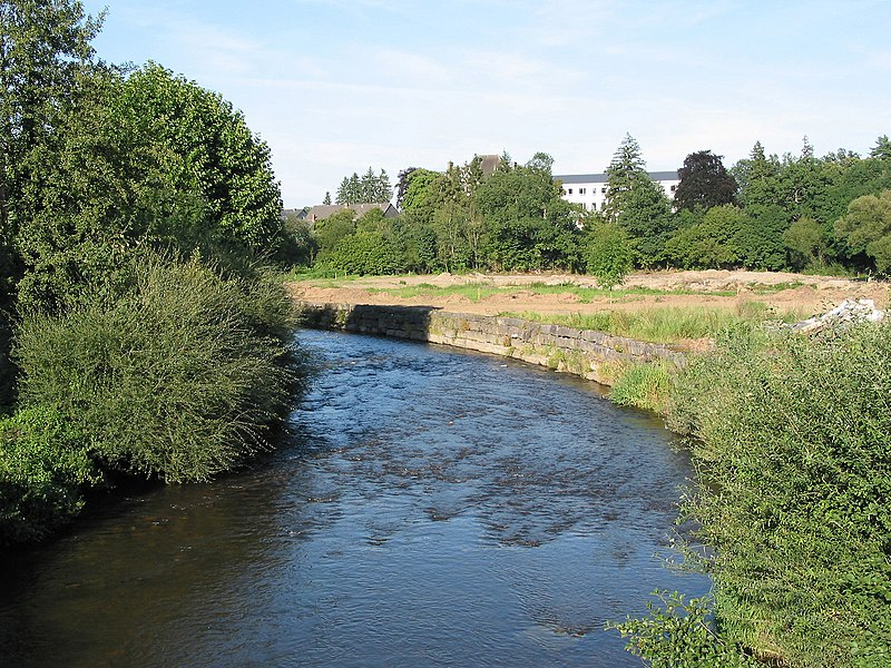 Forrières (Belgium), the L'Homme river on the downstream side of the Masbourg Road bridge.