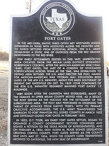 Fort Gates Texas Historical Marker