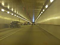 View inside the westbound/southbound half of the tunnel