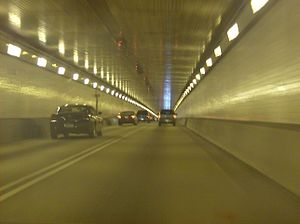 Fort Pitt Tunnel - View inside the westbound/southbound half of the tunnel