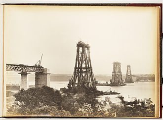 North Queensferry - View of the construction of the Forth Bridge from North Queensferry